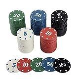 NUOBESTY Fiches da Poker in Plastica Opaca Fiches da Bingo Che Imparano Il Conteggio Della...