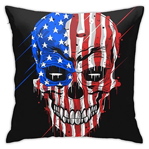 Funda de almohada cuadrada con diseño de calavera, diseño de bandera de Estados Unidos, color con grunge EdCustom, para dormitorio, oficina, 45,7 x 45,7 cm