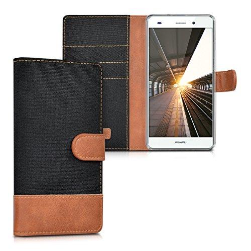 kwmobile Funda Compatible con Huawei P8 Lite (2015) - Carcasa de Tela y Cuero sintético Tarjetero Negro/marrón