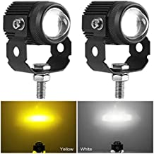 Zmoon Motorcycle LED Driving Fog Lights 60W Amber and White Projector Lights 1.3′′ Aux Spotlight, Compatible with Harley Davidson/E-Bike/Jeep/Pickup Trucks/SUV/Boats etc. (2 pack)