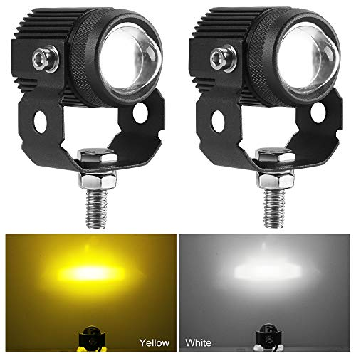 """Zmoon Motorcycle LED Driving Fog Lights 60W Amber and White Projector Lights 1.3"""" Aux Spotlight, Compatible with Harley Davidson/E-Bike/Jeep/Pickup Trucks/SUV/Boats etc. (2 Pack)"""