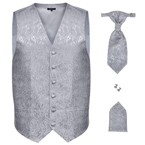 vidaXL Accesorios de boda para hombre con chaleco de cachemira color plateado, talla 48