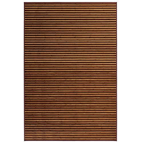 Alfombra de Salón o Comedor, de Rayas Color Natural, de Bambú Natural 140 X 200cm Natur, 140x200- Hogar y Más