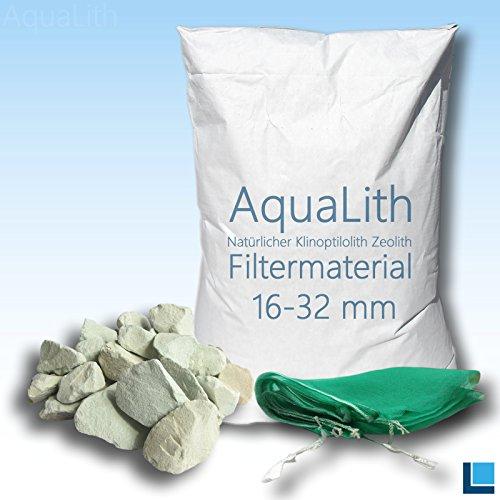 AquaLith 25 KG ZEOLITH Filtermaterial 16-32 mm + 2 x Filtersäcke XL 43x60 cm für Koiteiche, Gartenteiche, Zierteiche und Schwimmteiche