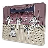 Mauspad, Mauspad, Tanz-Themenbild von skizzenhafter Zeichnung von Ballerinas auf Hirsch rechteckig, rutschfest, Gummi, Bürozubehör, Schreibtischdekoration, Laptop-Mausmatte