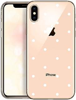 OOH!COLOR Carcasa para Móvil Compatible con iPhone XS MAX Funda Slim Silicona Transparente Suave Bumper Teléfono Caso para iPhone XS MAX con Dibujo Puntos Blancos