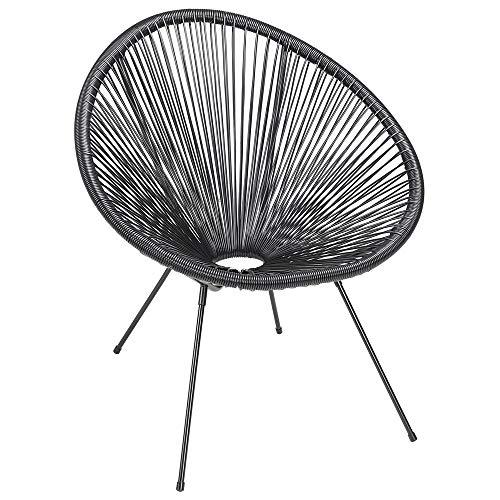 Casaria Acapulco Lounge Sessel Stuhl Retro Design Indoor Outdoor Wetterfest Gartenstuhl Relaxsessel Chair Balkon Schwarz