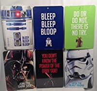 Star Wars Character 2 Sided Wall Signs - Darth Vader, R2D2, Yoda, & Stormtrooper Bundle - 6 Items [並行輸入品]