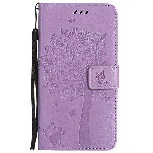 ISAKEN Compatibile con Samsung Galaxy J7 2016 Custodia, Libro Flip Cover Portafoglio Wallet Case Albero Design in Pelle PU Protezione Caso con Supporto di Stand/Carte Slot/Chiusura - Viola Chiaro