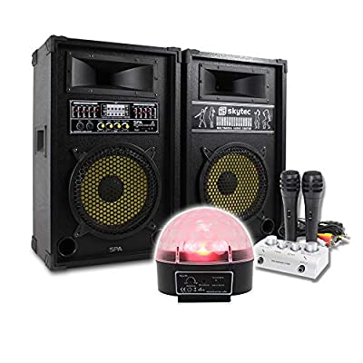 "beamz Plug & Play Active 10"" Karaoke Speakers Pub PA Microphones System LED Light 800W"