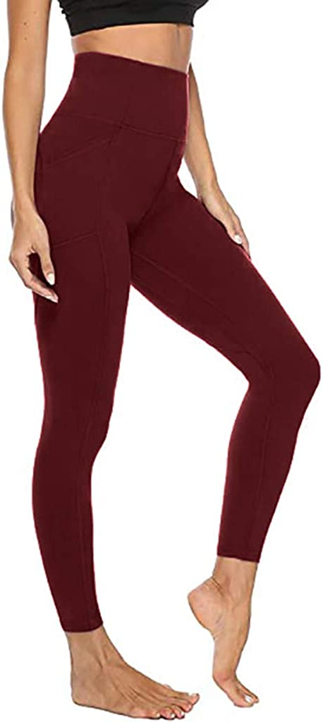 VEZAD Women High Waist Stretch Yoga Leggings Mesh Running Sports Active Pants with Pockets