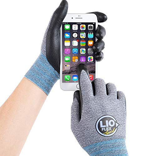 LIO FLEX Touch Working Gloves Screen Breathable Flexible Durable - 3 Pairs, L