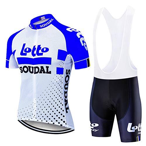 Hplights Ropa Conjunto Traje Equipacion Ciclismo Hombre Verano con 9D Acolchado De Gel, Maillot Ciclismo + Pantalon/Culote Bicicleta para MTB Ciclista Bici,A,L