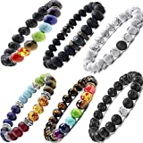 Black Lava Stone 7 Chakra Bracelets 6pcs mix 8mm Yinyang Rock Bead Elastic Natural Stones Gemstones Oil Diffuser Yoga Menditation Beads Bracelets for Men Women Girls Jewelry (6pcs Lava Stone Bracelet)