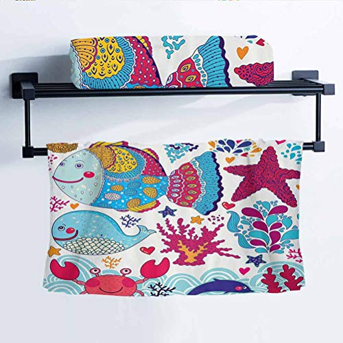 Anmaseven Whale Decor Collection Car Towel for Fitness Camp Funny Fishes Starfish Coral Crab Underwater Life and Waves Marine Clipart Image Blue Magenta 8' W x 24' L