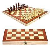 Dirgee European Wood International Schach-Set, Folding-handgefertigte Holzschach-Set-Schachbrett 30 x 30 cm
