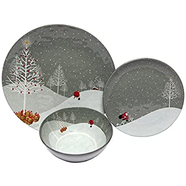 Melange 12-Piece 100% Melamine Dinnerware Set (Santa Comes Home Collection) | Shatter-Proof and Chip-Resistant Melamine Plates and Bowls | Dinner Plate, Salad Plate & Soup Bowl (4 Each)