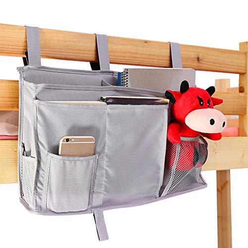 ITODA sängbord organiseringsväska bil baksäte förvaring soffa caddy hängande förvaring sänggavel för studentsovsalar, sängskenor, babyvagn, våningssäng, stor kapacitet ficka med 3 krokar
