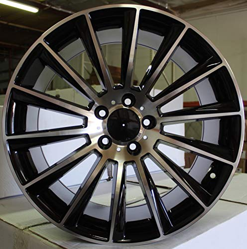 NEW 18 Inch x 7.5 Wheels Rims S AMG Style 5 lug Black Machined Face compatible with Mercedes Benz C43 S CLASS Set of 4 +35 offset