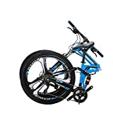 OBK G4 26' Full Suspension Folding Mountain Bike 21 Speed Bicycle Men or Women MTB Foldable Frame (Blue)