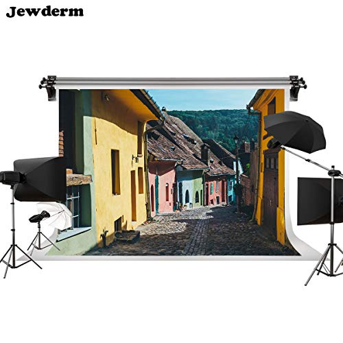 Jewderm 9x6ft Photo Background Colorful House Town Street Photography Backdrop for Fall Party Travel Vedio Holiday Props