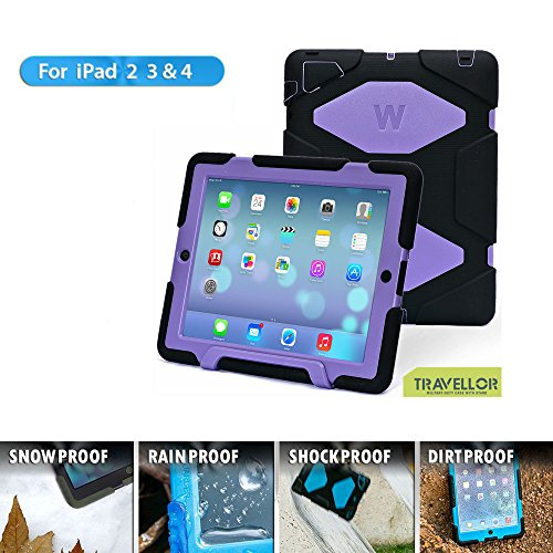 TRAVELLOR Three Layer Armor Defender and Full Body Protective Case Cover With Kickstand and Screen Protector for iPad 2/3/4 - Black/Purple