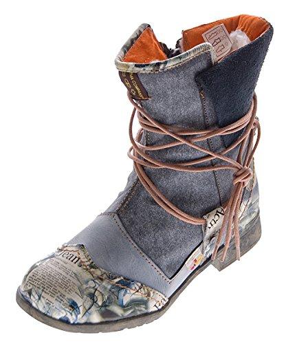 Damen Leder Winter Stiefeletten Comfort Boots TMA 5061 Knöchel Schuhe Schwarz gefüttert Gr. 39