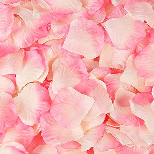 Lot de 500 pétales de rose en soie pour mariage, Saint-Valentin, décoration florale (rose et blanc)