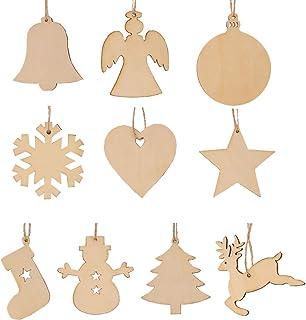 comprar comparacion kungfu Mall - 50 Unidades de 10 Estilos de árbol de Navidad de Madera para Colgar, Adornos, Copo de Nieve, Estrella, muñec...
