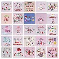 VALICLUD シックな144個の小さなクリスマスカード中空グリーティングカードクリエイティブなクリスマス要素は、クリスマスギフト用品のためのかわいい祝福ギフトカードを描いた
