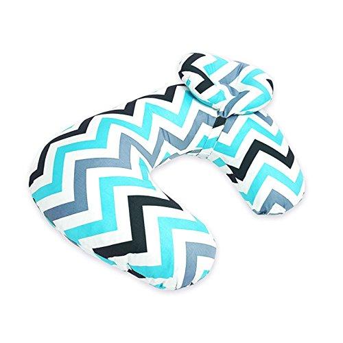 WANGLAI bébé Confortable U Type Oreiller/Enceinte des Mères d'allaitement Taie d'oreiller/Coussin d'allaitement multiusage pour Enfants, Tissu en Coton, Blue Gray Waves, 56 * 37cm