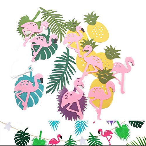 Wohlstand Decoracion Fiesta Verano,Hawai temática Verano Partido Banner Guirnalda Fiesta Luau Playa Bandera Fiesta,Tropical Hawaiana con flamencos y piñas,3 Piezas
