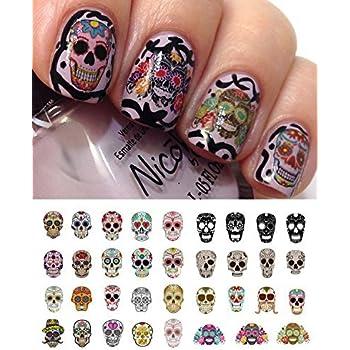 Amazon Com Sugar Skull Nail Decals Assortment 1 Water Slide Nail Art Decals Salon Quality Beauty