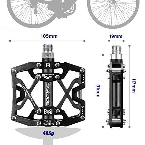 SGODDE Fahrrad Pedalen Mountainbike Rennrad Fahrradpedale, MTB Pedale mit Ultralight Aluminiumlegierung Platform und 3 Abgedichtete Läger, rutschfest Trekking Pedale mit Achsendurchmesser 9/16 Zoll - 3
