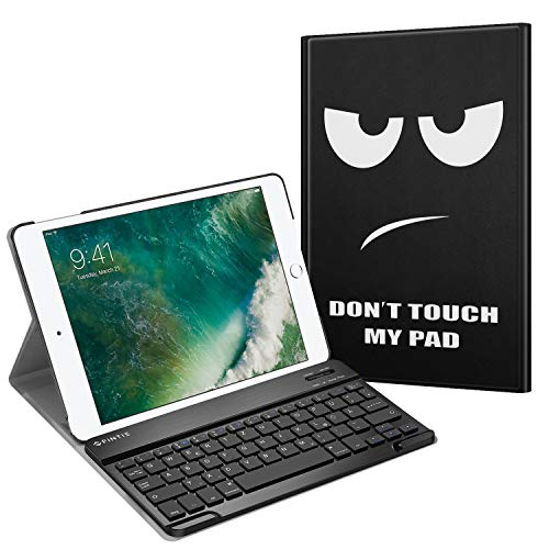 Fintie Tastatur Hülle für iPad 9.7 Zoll 2018 2017 / iPad Air 2 / iPad Air - Ultradünn leicht Schutzhülle Keyboard Case mit magnetisch Abnehmbarer drahtloser Deutscher Bluetooth Tastatur, Don't Touch