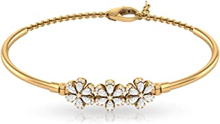 1.12 Carat Pear Shaped IGI Certified Diamond Flower Cuff Chain Bracelet, Women IJ-SI Diamond Cluster Adjustable Bracelet, Bridal Wedding Promise Gifts