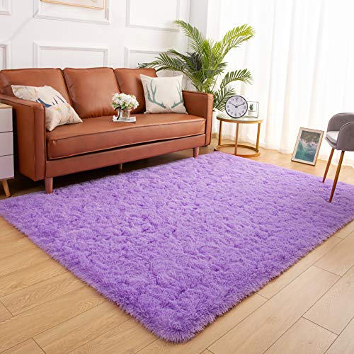 YJ.GWL Soft Shaggy Area Rugs for Bedroom Fluffy Living Room Rugs Anti-Skid Nursery Girls Carpets Kids Home Decor Rugs 3 x 5 Feet Purple