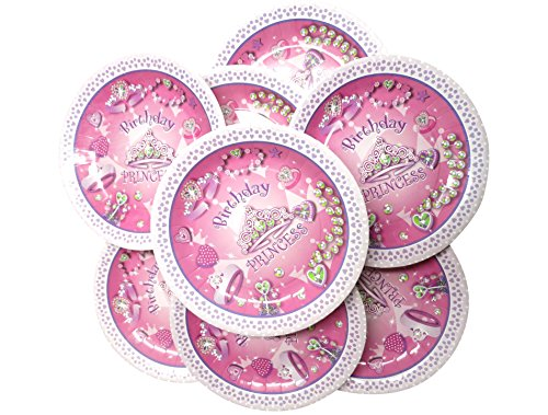 "UrbHome Birthday Princess Party 9"" Plates 16 Pack"