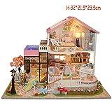 Zaoyun Maison de Poupée,Miniature DIY Maison à Construire Maison Miniature en Kit Mini Maison en Bois avec Lumière Jouet Décoration Accessoire de Poupée (H-32 * 21.5 * 23.5cm)