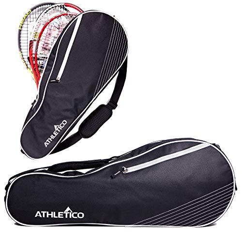 Athletico - Borsa per 3 Racchette da Tennis, Imbottita per Proteggere Le Racchette e Leggera, Donne, Ragazzi e Adulti, Nero
