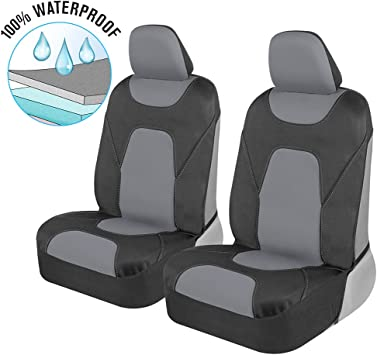 Motor Trend AquaShield Car Seat Covers for Front Seats, Gray – 3 Layer Waterproof Seat Covers, Neoprene Material with Modern Sideless Design, Universal Fit for Auto Truck Van SUV: image