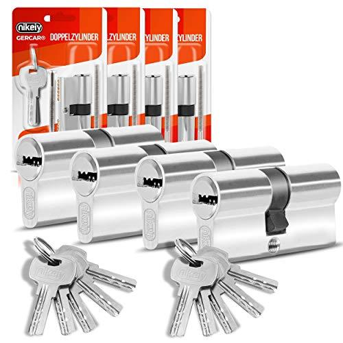 GERCAR Profilzylinder Schließzylinder Zylinderschloss 45/45 Doppelzylinder Türschloss - inkl. 10 Schlüssel - Gleichschließend 4er Set - Länge: 90mm , A:45 B:45 - 4er Set