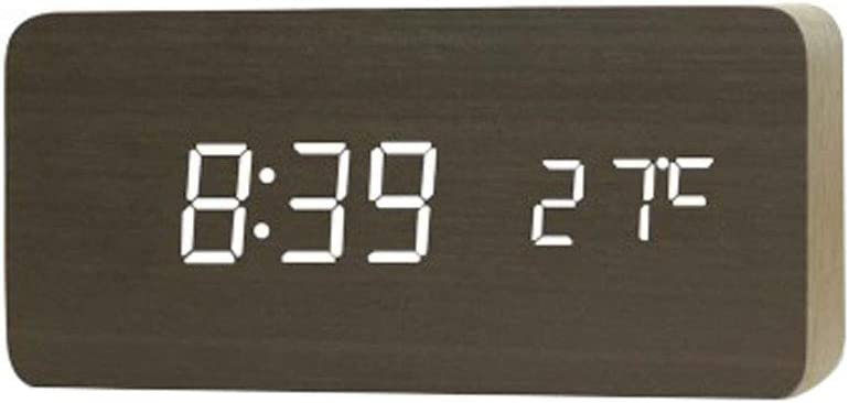 Super-cheap Desk Table Clock Wooden Regular dealer LED Bright Adjustable with Alarm