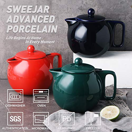 SWEEJAR Ceramic Teapot with Infuser, 40 Ounce, Porcelain Tea Pots for Loose Leaf Tea, with Stainless Steel Strainer and Lid for Gift, Party, Family, Thanksgiving, Christmas, (Navy)