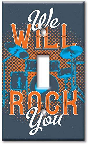 Cubierta de la placa del interruptor de la luz Interruptor de la sola pandilla/sobre el tamaño de la placa de pared - We Will Rock You