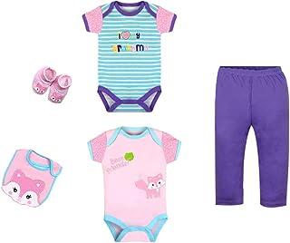 ZEVONDA Baby Boys Girls Clothes Set 5Pcs - Short Sleeve Bodysuit & Trousers & Bibs Animals Cartoon Newborn Outfits for 0-12 Months