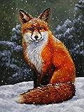 Kit de bordado, bordado de diamantes, zorro 5D, pintura de diamantes DIY, Animal de invierno, punto de cruz, nieve, decoraciones para el hogar, A4, 30x40cm