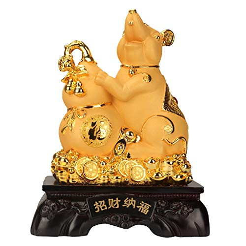 Buddha Ornament 2020 Feng Shui Chinese Zodiac Rat/Mouse Year Golden Resin Collectible Figurines New Year Lucky Decoration For Luck & Wealth Perfect For Your Home Or Office Feng Shui ornaments