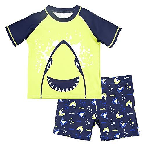 VICROAD Jungen Rash Vest & Short UV Schützend Schwimmanzug Kurzarm Badeshirt (Grün, 3 Jahre)