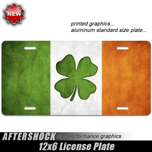 Aftershock Irish Ireland License Plate Celtic Flag Lucky Charm Clover